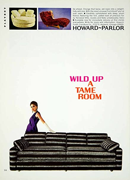 1967 Ad Vintage Howard Parlor Furniture Sofa Chair 60's
