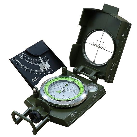 ninefn profesional brújula Metal militares ejército brújula multifunción impermeable brújula de navegación para Camping senderismo actividades al aire libre ...