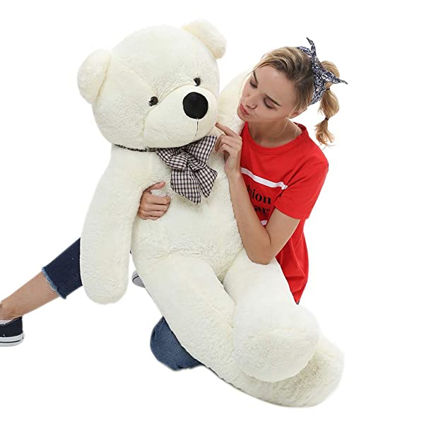 MorisMos 47 inch Big Cute Plush Teddy Bear Huge Plush Animals Teddy Bear for Girl Children Girlfriend Valentine's Day White 1.2M (Color: White, Tamaño: 47 inches)