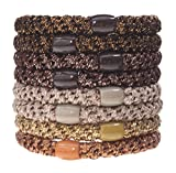 L. Erickson Grab & Go Ponytail Holders, Bronze Metallic, Set of Eight - Exceptionally Secure with Gentle Hold