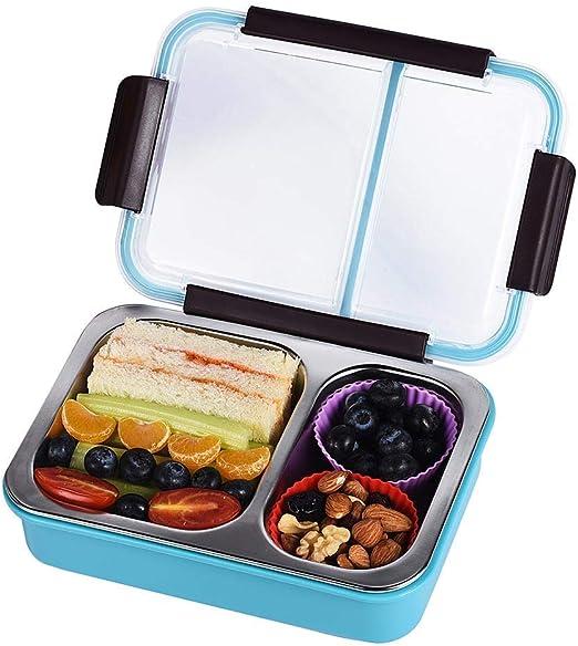 fiambrera infantil,Acero inoxidable Caja de almuerzo Con 2 ...