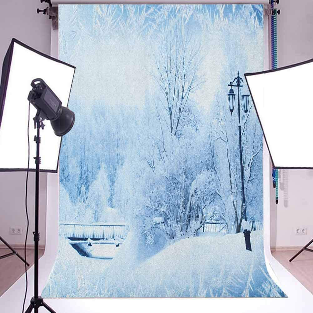 8x12 FT Vinyl Photography Backdrop,Winter Trees in Wonderland Theme Christmas New Year Scenery Freezing ICY Weather Background for Child Baby Shower Photo Studio Prop Photobooth Photoshoot