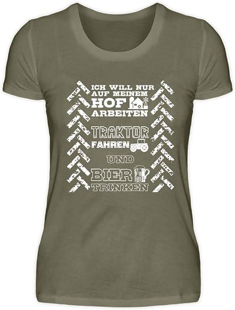 Shirtee Camiseta de Tractor para Mujer, diseño de Agricultura con Texto en alemán HOF Traktor und Bier Gris Oscuro M: Amazon.es: Ropa y accesorios