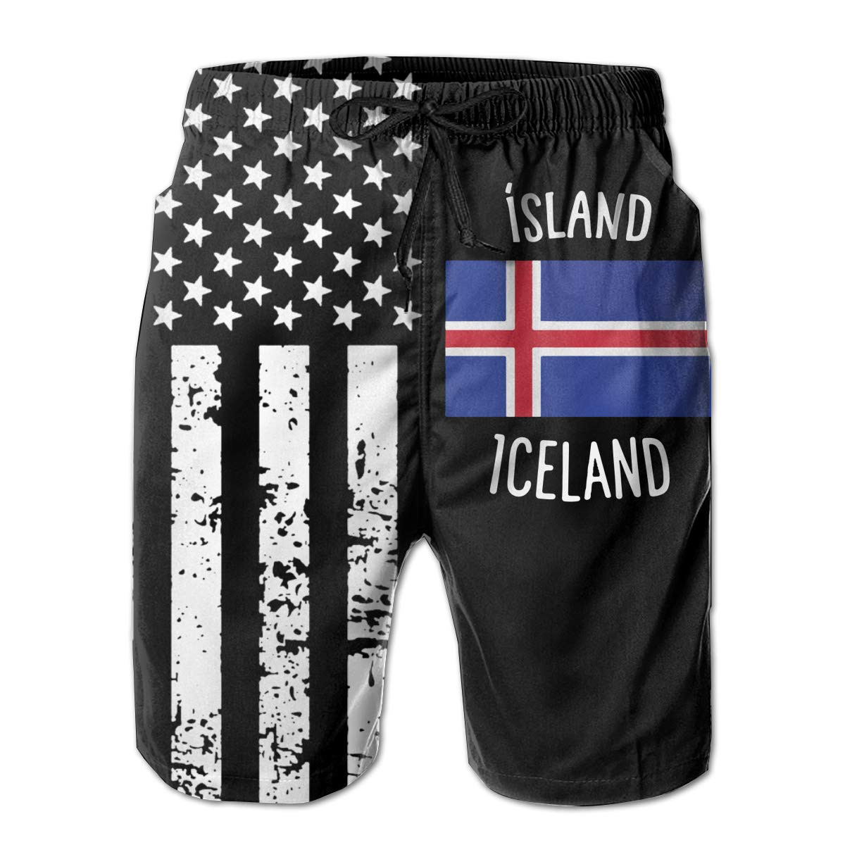 TBVS 79 Iceland Flag Mens Holiday Party Surf Beach Shorts for Men Boys