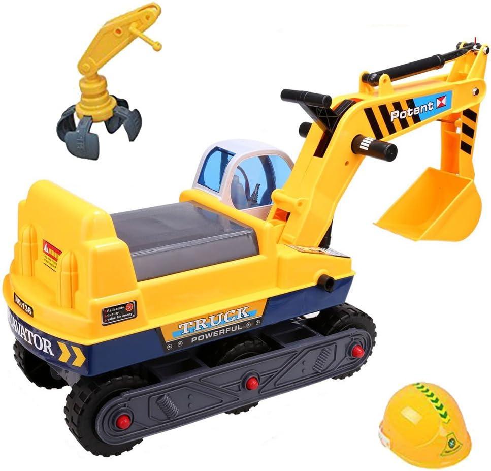 deAO Vehículo Correpasillos Camión de Construcción con Excavadora Manual Inlcuye 2 Extensiones Diferentes