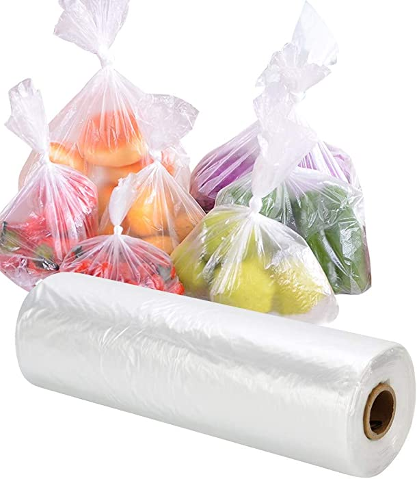 RyhamPaper Food Storage Bags, 1 Roll 16 x 20 Plastic Produce Bag on a Roll Fruits, Vegetable, Bread, Food Storage Clear Bags, 350 Bags