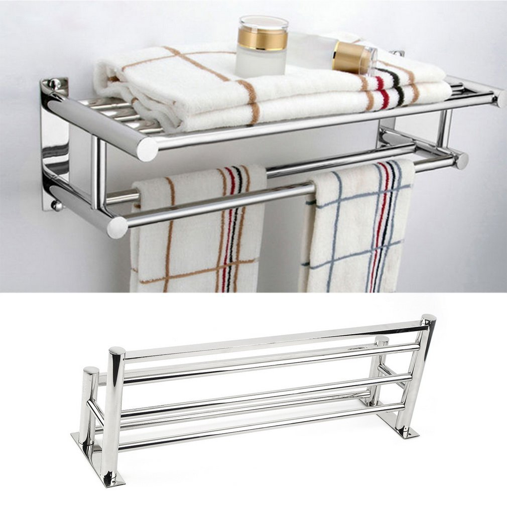 KATHER Double Towel Rail Holder Wall Mounted Bathroom Rack Towel Shelf Storage Holder Stainless Steel