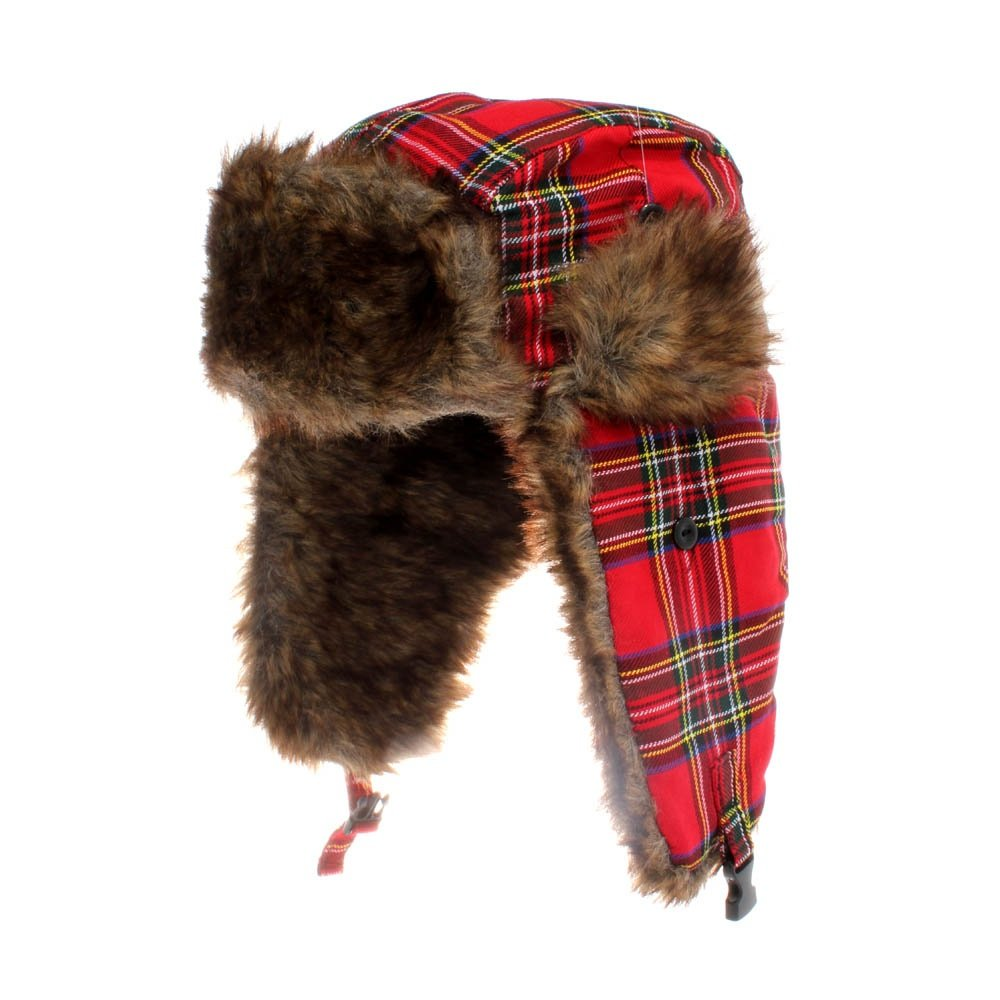 58cm Scottish Red Tartan Trapper Hat
