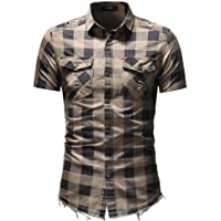 GAOXINGQU Men's Classic Checkered Denim Shirt Slim-fit Lapels Short-sleeved Denim Shirt