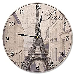 Stupell Industries La Tour Eiffel Sepia Photogram Vanity Clock, Proudly Made in USA