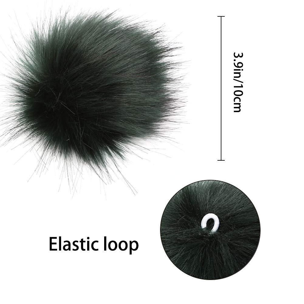 10 Classic Colors, 2 Pcs Per Color 20 Pieces Colorful Faux Fur Pom Poms Balls with Elastic Loop Fur Pompoms for Hats Gloves Keychains Bags Charms Classic Colors