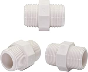 """Omitfu 3 Pcs PVC Garden Hose Adapters 3/4"""" GHT Male x 3/4"""" NPT Male Connector, Garden Hose to Pipe Fitting for Rain Barrels Aquariums Water Tanks"""