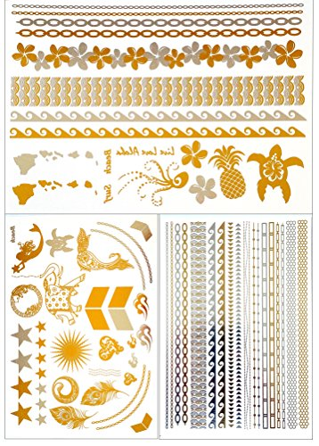 Metallic Gold Temporary Tattoos 3 Sheets: Just Bracelets, Bling and Hawaii/Beach Themes