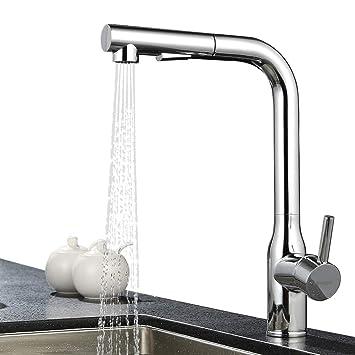 ubeegol Messing Chrom Wasserhahn Küche mit Brause Spültischarmatur ...