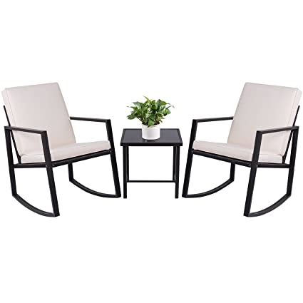 Devoko 3 Piece Rocking Bistro Sets Outdoor Patio Furniture Sets Clearance  Wicker Porch Furniture with Glass - Amazon.com : Devoko 3 Piece Rocking Bistro Sets Outdoor Patio