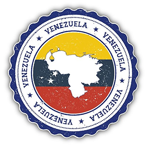 Venezuela Map Grunge World Flag Stamp Art Decor Bumper Sticker 5'' x 5'' -