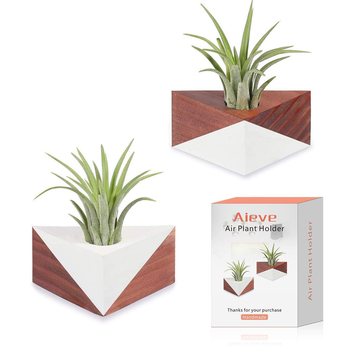 Air Plant Holder,2 Pack Triangle Geometric Air Plant Holders Container Tabletop Stand Vase Pot with Magnet for Hanging Air Plants Small Tillandsia Holder Indoor Wall Home Decor
