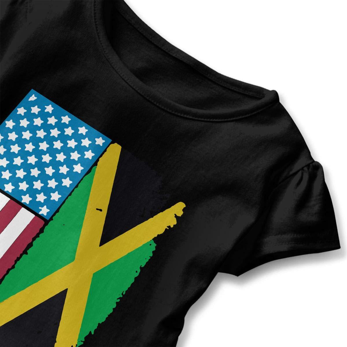 SHIRT1-KIDS Jamaican American Flag Jamaica USA Toddler//Infant Girls Short Sleeve Ruffles Shirt T-Shirt for 2-6 Toddlers