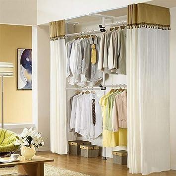 Armario de almacenamiento de tela reforzado con marco de acero doble retráctil - Armario simple acostado - Guardarropa de la habitación Simple y moderno ...