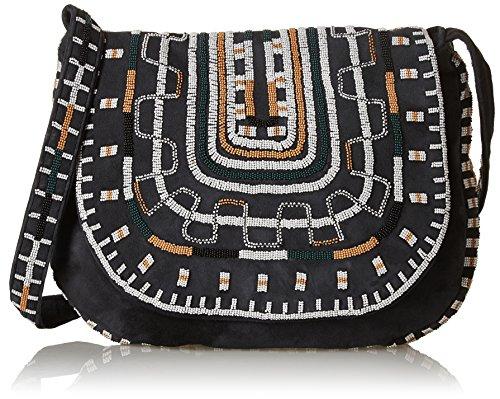 Antik Batik Otto, Damen Schultertasche Schwarz - Schwarz (Black)