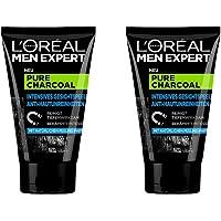 L'Oréal Men Expert Pure Charcoal Kohle Gesichtspeeling, gegen unreine, fettige und ölige Männerhaut und Mitesser, Porenreiniger für klare Haut (2x 100ml)
