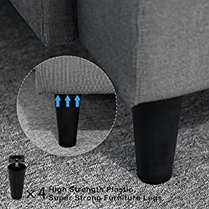 Sofa Legs, GLTECK Tapered Plastic Sofa Couch and Chair Legs M8 Thread (Metric 8mm) Replacement Furniture Legs- Set of 4 with Leg Mounting Plates, Perfect for IKEA or US made furniture and beds.