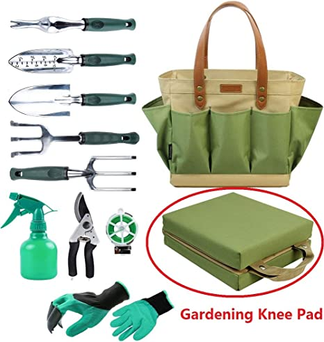 Amazon Com Garden Tool Tote Solid Bag With 11 Piece Hand Tools
