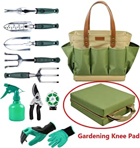 Garden Tool Tote Solid Bag with 11 Piece Hand Tools,Best Gardening Gift Set Organizer with Vegetable Garden Tool Kit,Free Kneeler Pad,Digging Claw Gloves and All Necessary Gardening Accessories