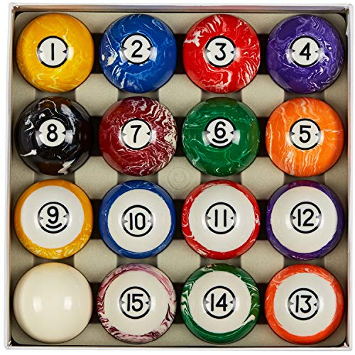Collapsar Deluxe 2-1/4 Inch Reulation Billiard Balls Pool Ball Marble-Swirl Style Complete 16 Billiard Ball Set (Several Style Available) (White Marble with Black Triangle)