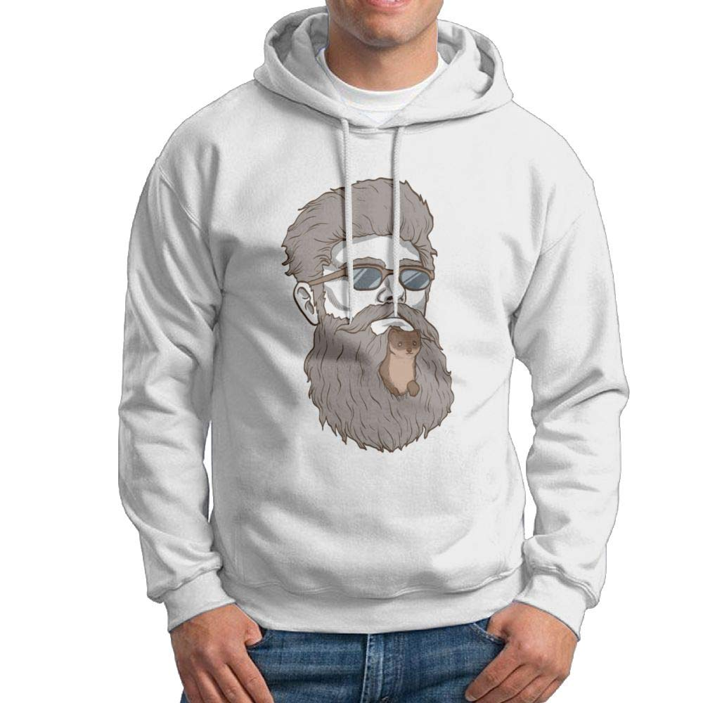 Arsmt Hooded Sweatshirt Mens Cool Pullover Fleece Hoodie Cool Man Weasel