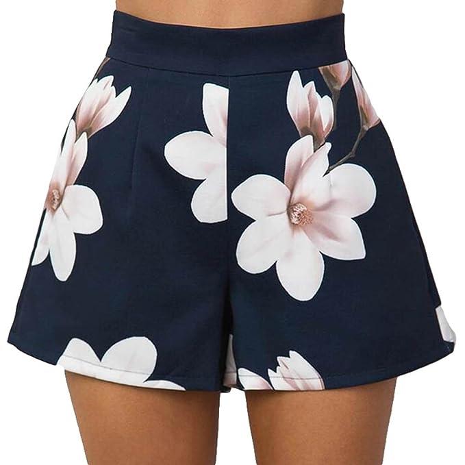 f532056133 Pantalones Cortos para Mujer - Moda Cintura Alta Shorts con Cremallera  Trasera Elegante Flor Impresa Casual Pantalones con Bolsillos S-XL   Amazon.es  Ropa y ...