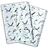Puffin Gift Wrapping Paper 2 Sheets and 2 Tags