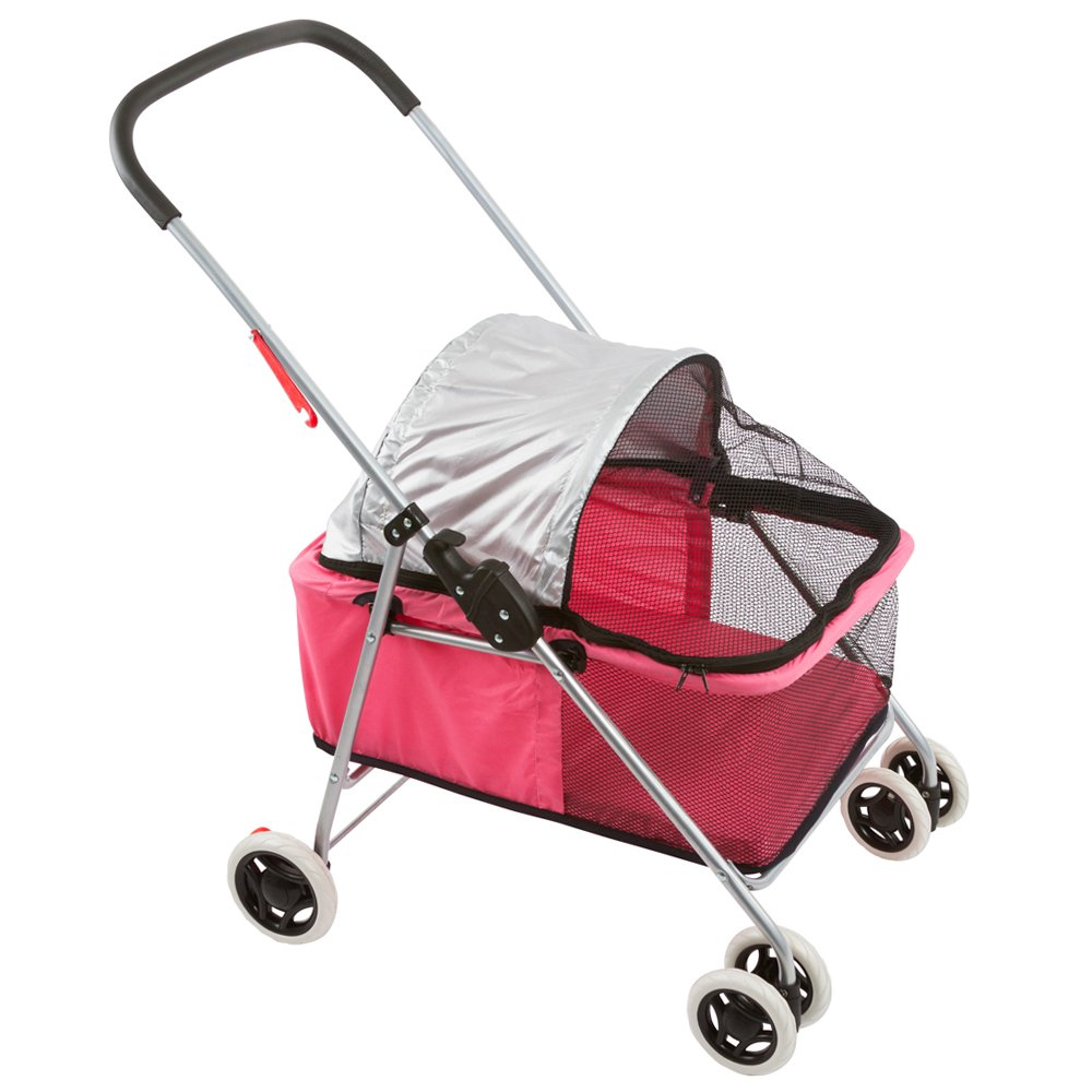 Basket-Style Portable Folding Pet Carrier Stroller pink Small