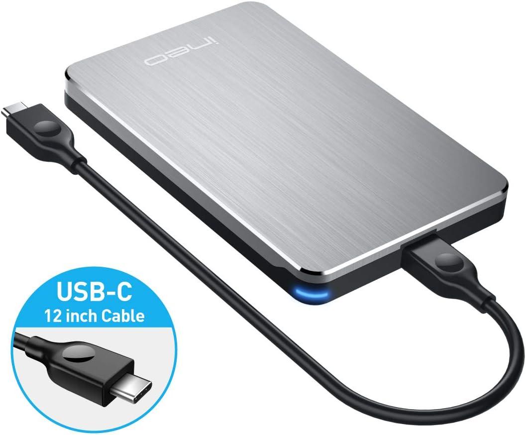 ineo Aluminio Carcasa USB C 3.1 Gen 2 Type-C caja Discos Duros 2,5 ...