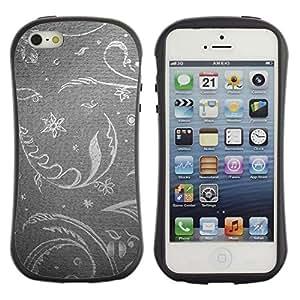 "Pulsar iFace Series Tpu silicona Carcasa Funda Case para Apple iPhone SE / iPhone 5 / iPhone 5S , Papel pintado floral gris Gris Plata Vintage Retro"""