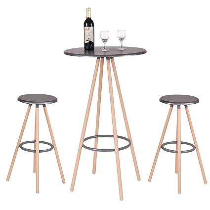Costway 3 Piece Bar Table Set W/ 2 Stools Bistro Indoor Kitchen Dining  Furniture