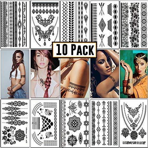 2e4324df2fc74 Temporary Tattoos - Fake Semi Permanent, Henna Tattoo | 10 sheets & 100+  designs