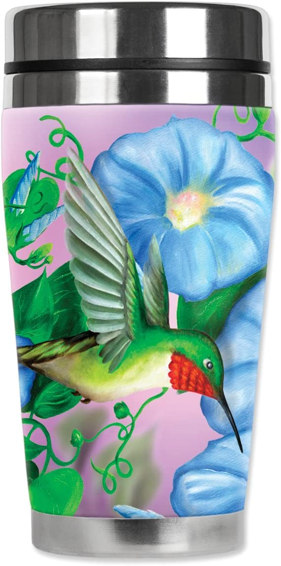Mugzie Hummingbird & Flowers Travel Mug with Insulated Wetsuit Cover, 16 oz, Black