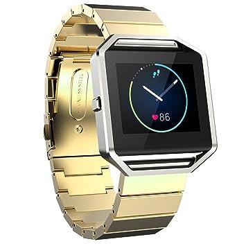 FOTOWELT Fitbit Blaze Banda de Reloj, Lujo de Moda Stailess Acero Correa de Pulsera Banda de Reemplazo para Fitbit Blaze Smart Fitness Reloj -Oro: ...