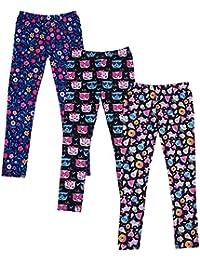 Girl's Leggings 3 Pack with Print Designs Full Ankle Length Kids Pants 3-11Y