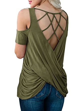 c45453317cf9f Lynwitkui Womens Sexy Draped Crisscross Back T Shirts Cold Shoulder Short  Sleeve Loose Tee Tops Blouse