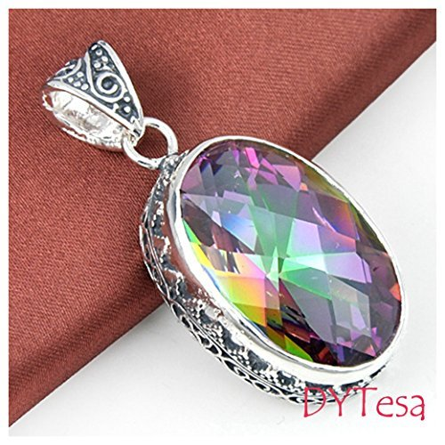 DYTesa 66 Ct Huge Vintage Natural Rainbow Mystical Topaz Gemstone Solid Silver Pendant