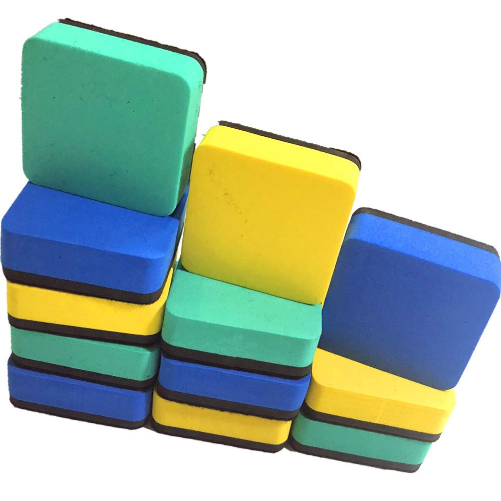 12 Magnetic Whiteboard Erasers | Mini Eraser for School Office Home and Classrooms (3 Colors)