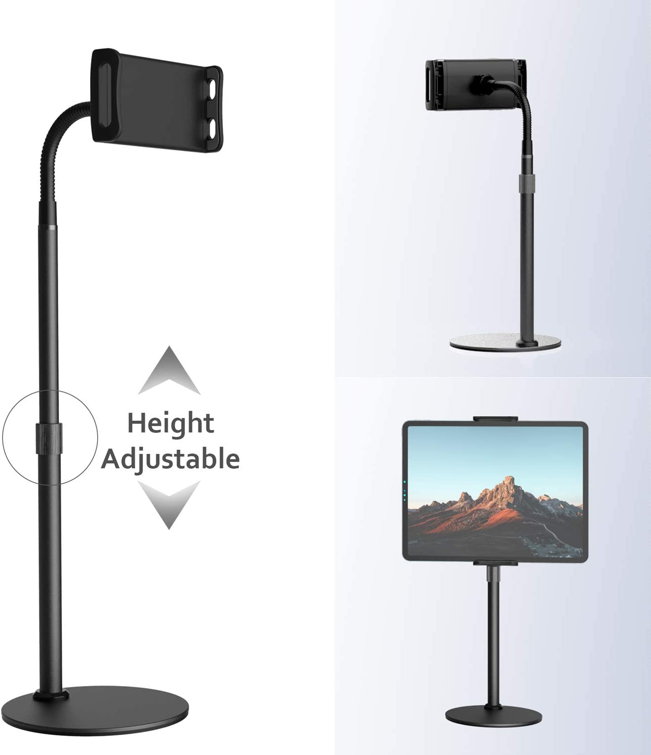 Phone/Tablet Stand Holder,Yikola Height&Angles Adjustable 360°Rotation Tablet Stand Riser with Gooseneck Flexible Arm&Adjustable Clamp Clip,Metal Elevator Cradle Mount forCellphone&Tablet Up to 12.9""