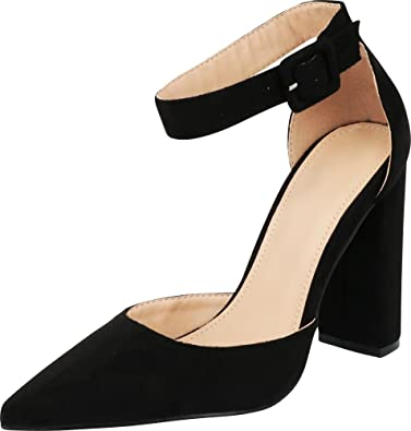 a3a6857e143 Cambridge Select Women s Closed Pointed to D Orsay Buckled Ankle Strap  Chunky Block Heel Pump