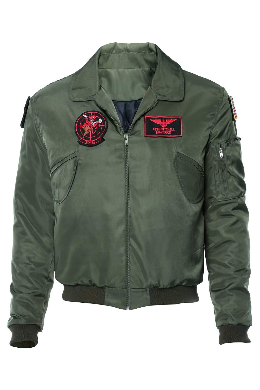 RedJade Top Gun Maverick Bomber Giacca Cosplay Costume Verde Uomo XS