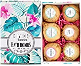 6 XL USA Made Lush Bath Bombs Kit - Organic Coconut oil and Shea Butter - Mothers Day Gift For Women - Bath Fizzies - Best Gift Ideas and Gift Sets - Use with Bath Bubbles Basket Bath Beads