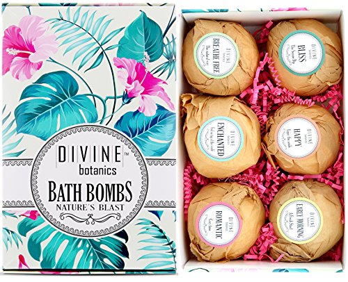 6 XL USA Made Lush Bath Bombs Kit - Organic Coconut oil and Shea Butter - Holiday Christmas Gift For Women - Bath Fizzies - Best Gift Ideas and Gift Sets - Use with Bath Bubbles Basket Bath Beads