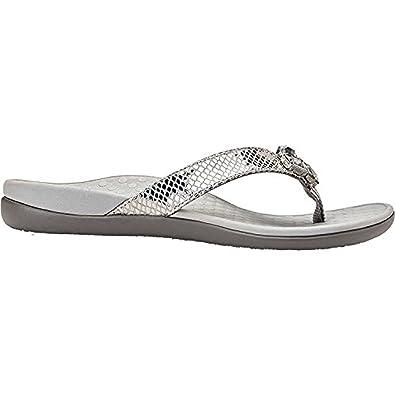 5a6bd16776e1 Vionic Tide Jewel- Womens Flip Flop Sandal Pewter Snake - 7 Medium