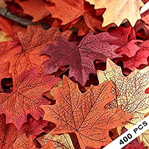 COSYWORLD 400 Assorted Mixed Fall Colored Artificial Maple Leaves for Weddings, Events and Decorating 47